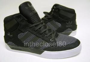adidas hardcourt image is loading adidas-hard-court-hi-knit-black-white-grey- LNNJORF