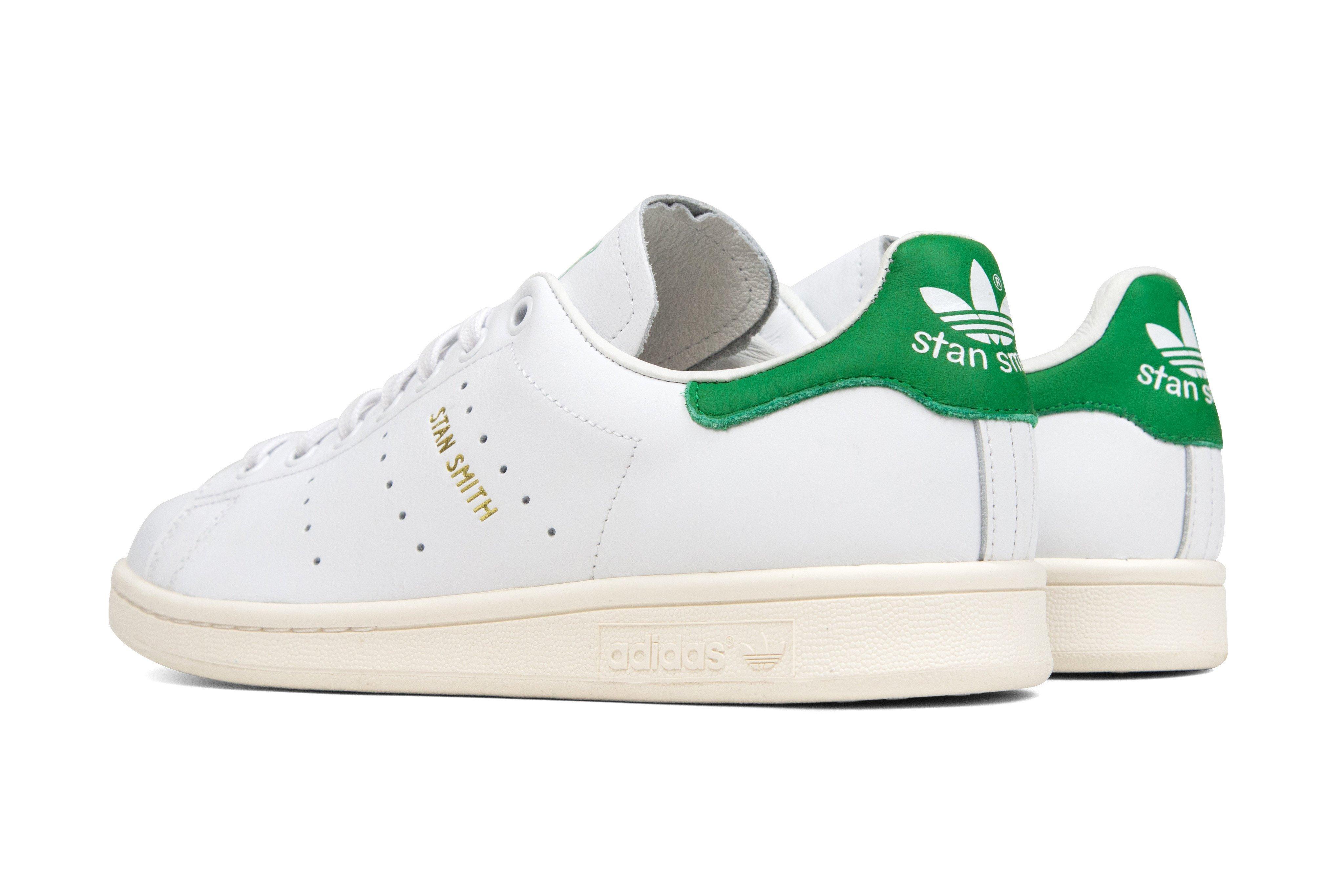 adidas originals stan smith u0027tumbled leatheru0027 - white/green/gold HJSQKBR