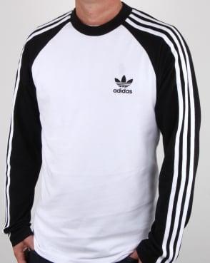 Adidas Retro adidas originals long sleeve 3 stripes t shirt white/black ... PEZKLMZ