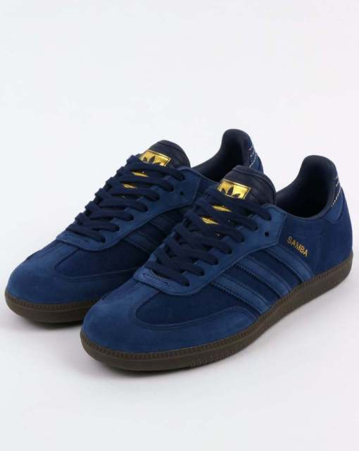 adidas samba trainers in dark blue suede, gum sole - retro classic GWXWRTT