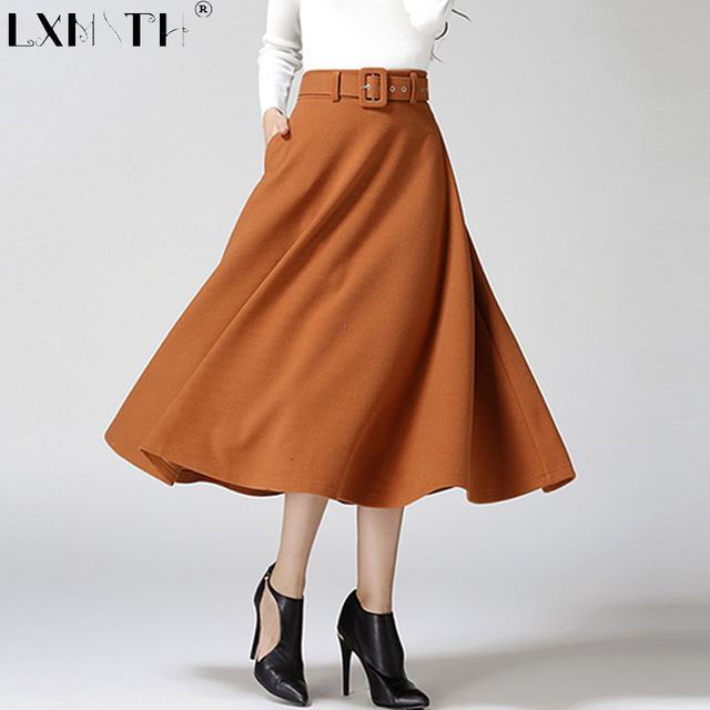 aline skirts 2018 winter skirt long calf-length wool blend skirt belt solid a line skirts  women SJOFLZU