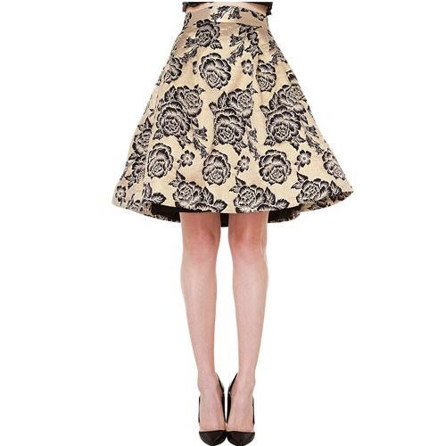 aline skirts golden vintage floral a-line skirt 15sk00098 UPOPMXN