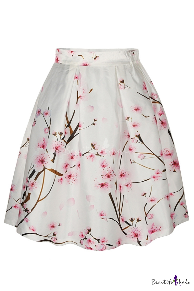 aline skirts peach blossom print high waist a-line skirt - beautifulhalo.com MTWSBRZ