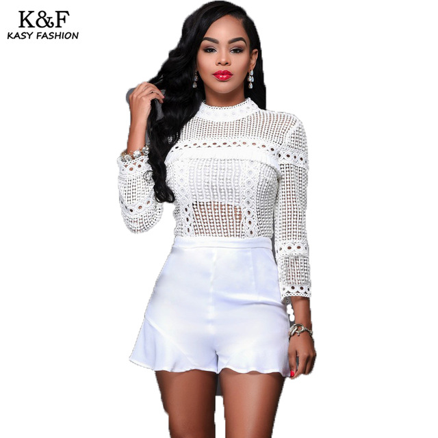 all white romper ladies long sleeved turtleneck short summer playsuits 2018 hollow out eye  hole designer all MRXAHJG