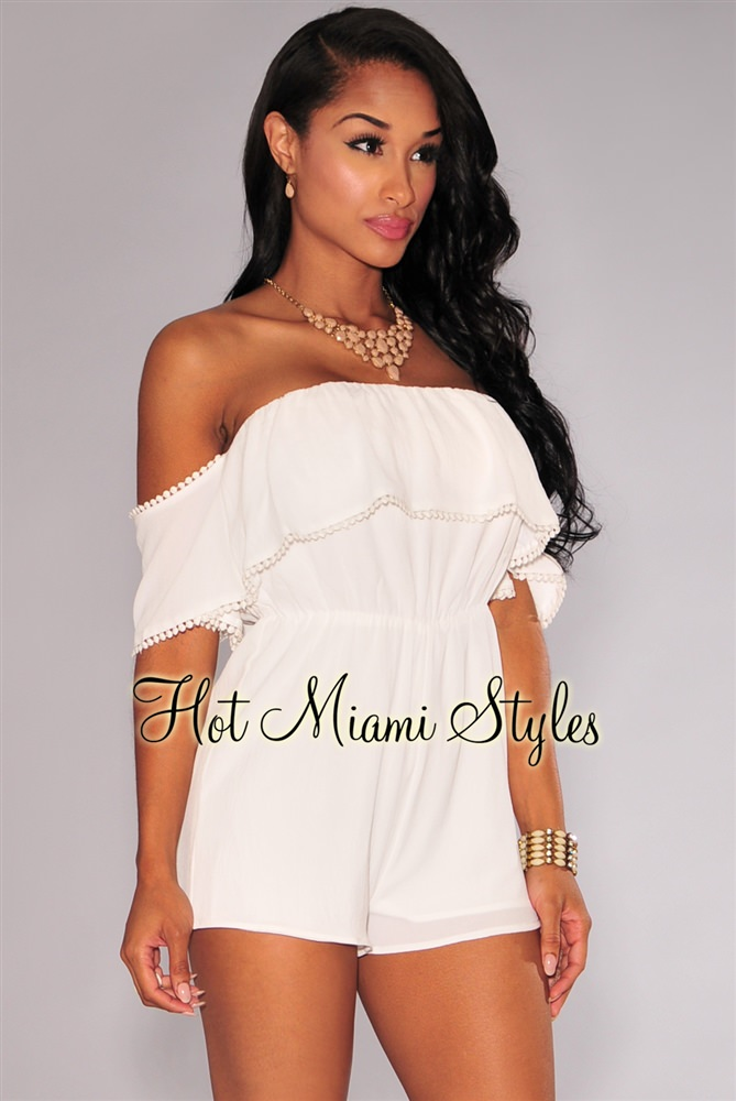 all white romper off-white off-the-shoulder crochet trim romper VWAWKRF