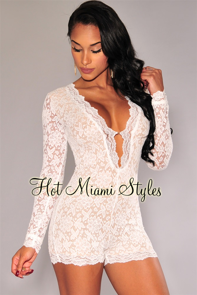 all white romper white lace nude illusion long sleeves romper OAEKIRH