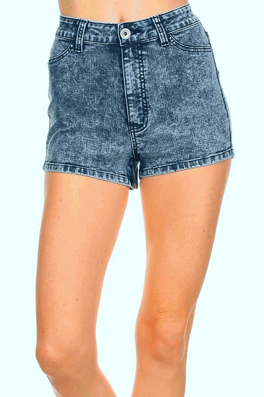 american blue acid wash shorts - front cropped image ZMWGFFO