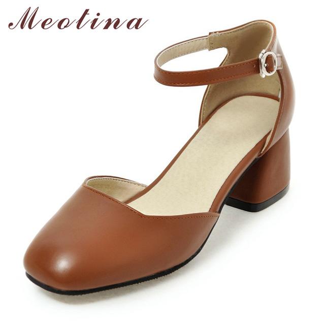 ankle strap shoes meotina women pumps ankle strap thick heel women shoes square toe mid heels  dress VLTNTWJ