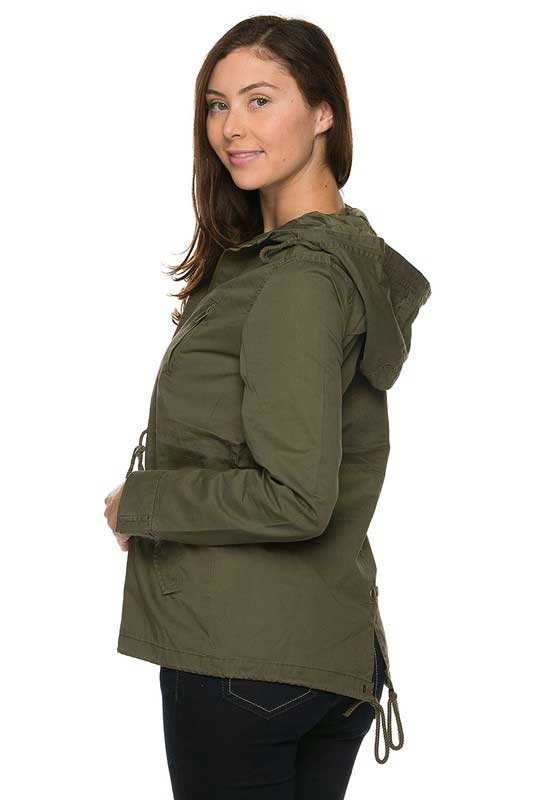 anorak jackets ambiance twill hooded anorak jacket in olive 65543 FXMFRUN
