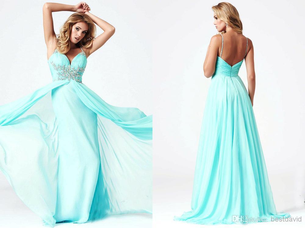 Aqua Dresses cheap aqua crystals prom dresses 2014 deep v neck high leg slit a line SGQXEJA