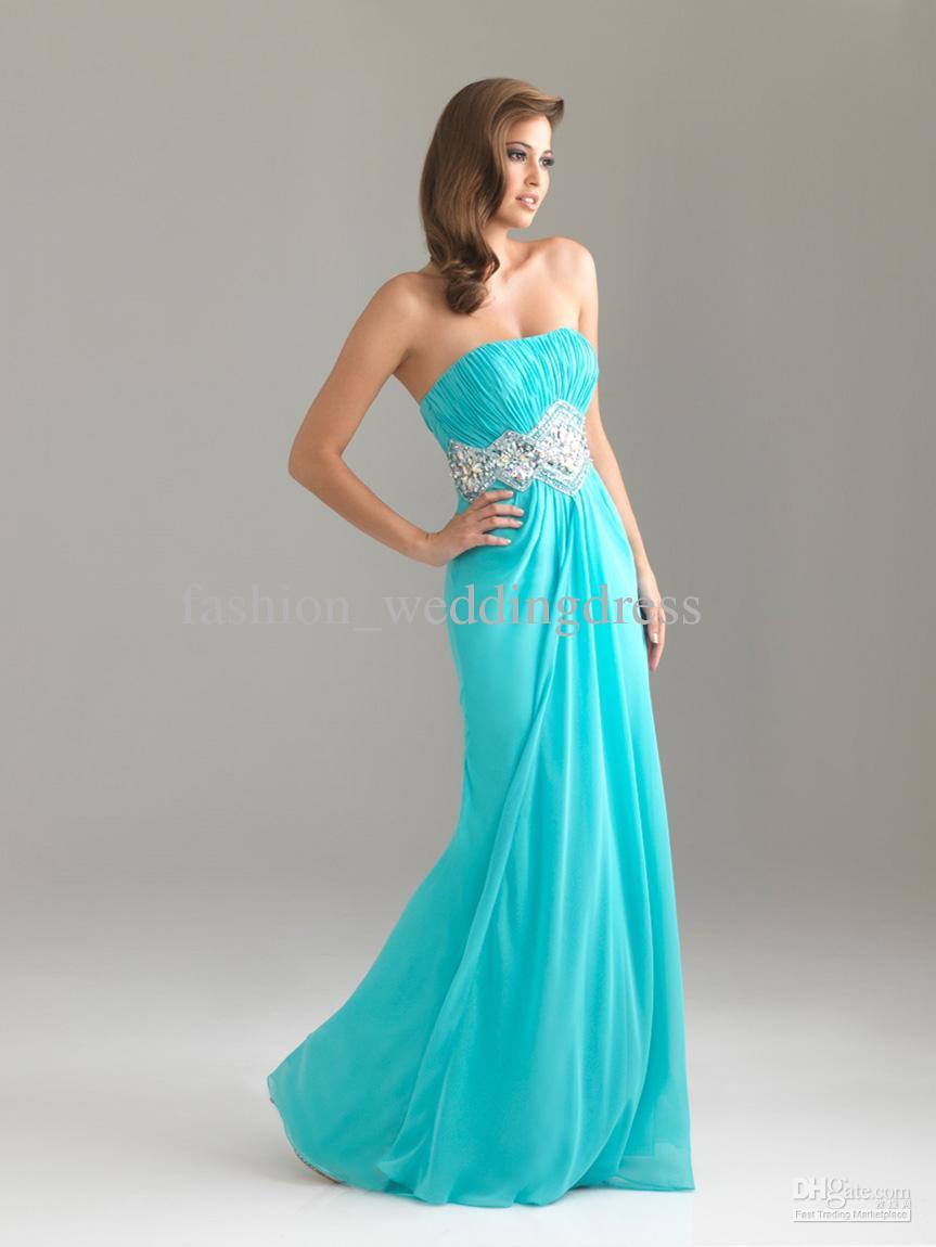Aqua Dresses customize aqua strapless ruched bodice beaded waistline chiffon prom dresses  sweet 16 party dresses ZZAKSJP