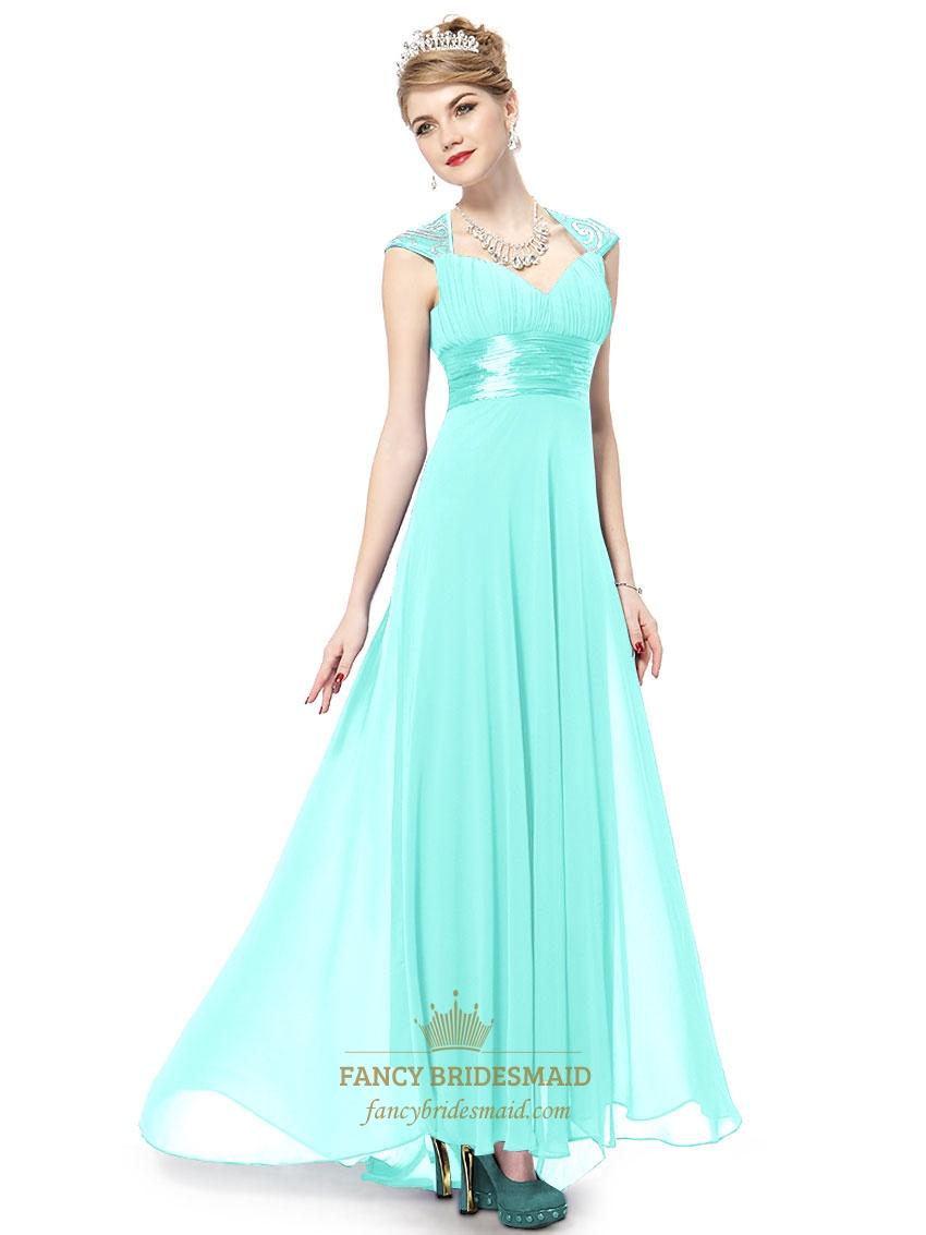 Aqua Dresses long aqua prom dresses with cap sleeves,aqua blue evening gown RJGTVTX