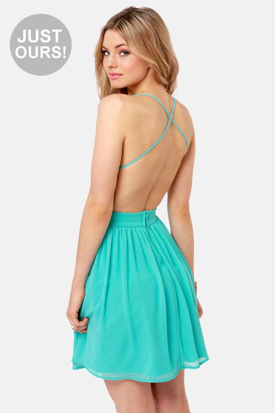 Aqua Dresses lulus exclusive just dance backless aqua lace dress AAETMLS