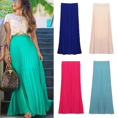 aqua pleated maxi skirt. click to enlarge BZNLGWA