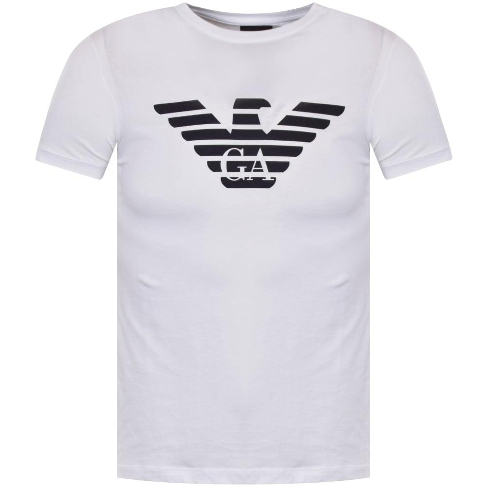 Armani T shirts emporio armani eagle logo t-shirt in white YJAJRSF
