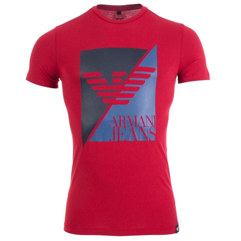 Armani T shirts geo box t-shirt in red | armani jeans | eqvvs TBWXLNZ