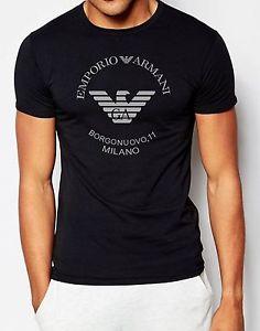 Armani T shirts image is loading emporio-armani-borgonuovo-milano-designer-black-t-shirt- IVXCKTO