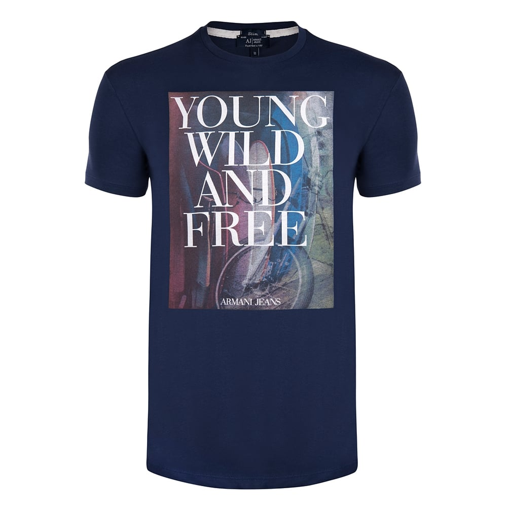 Armani T shirts navy ywf graphic mens t-shirt BHEIEJL