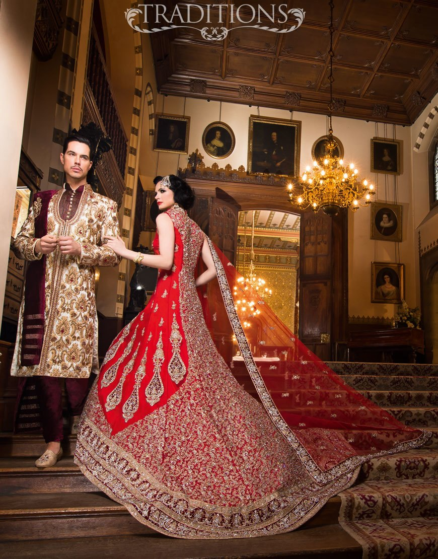 Asian wedding dress red wedding wear for pakistani and indian brides NRNADUC