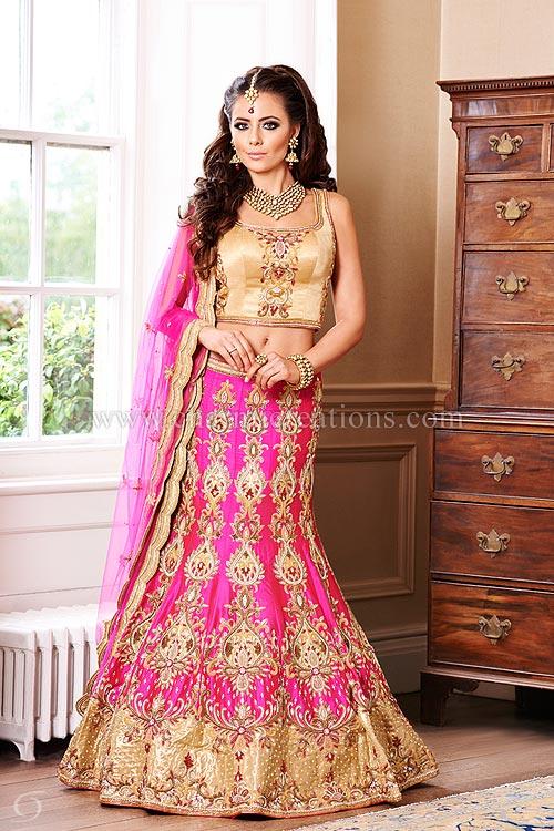 Asian wedding dress vermillion collection - fuscia pink 12 panel mermaid style wedding chaniya  with gold blouse LPGNBLF