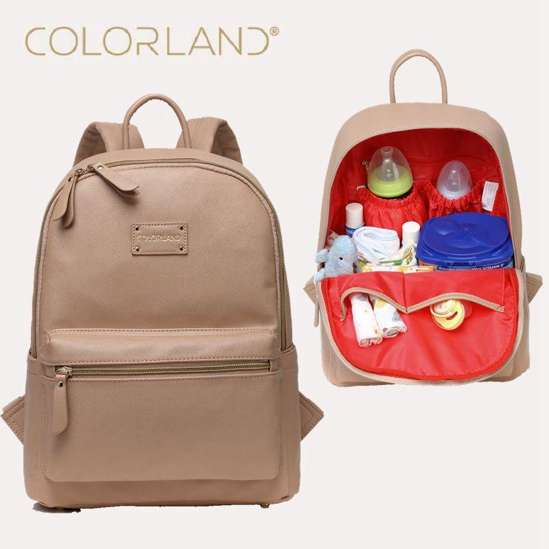 Baby Bag 2018 wholesale colorland diaper bag backpack pu leather baby bag organizer  large nappy bags KDNZMUK