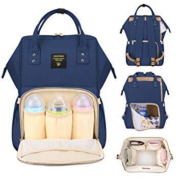 Baby Bag sunveno baby diaper bag backpack large travel waterproof nappy changing bag  insulated backbag (navy) FNCVFAK