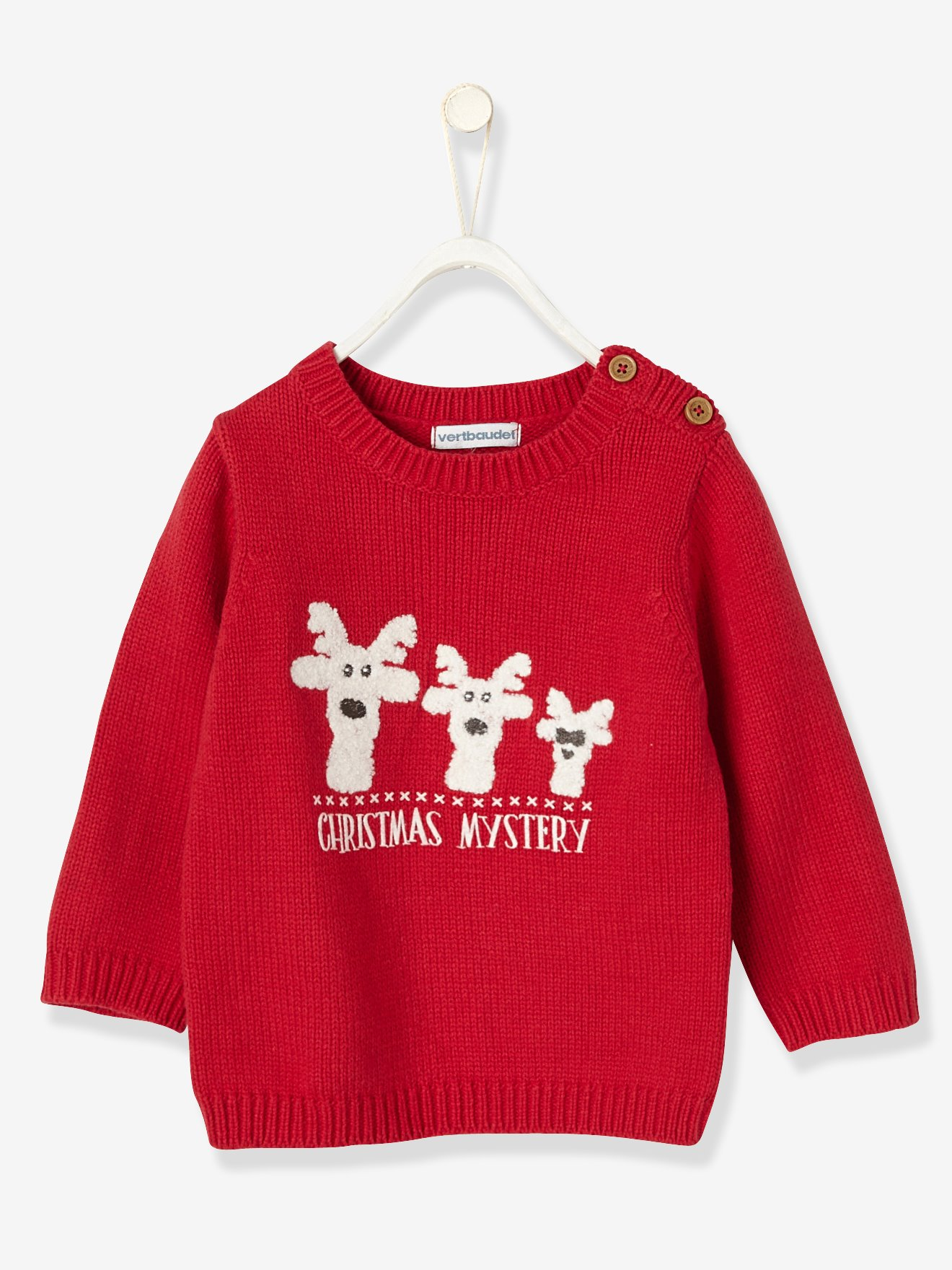 baby Christmas jumper baby christmas jumper red dark solid - vertbaudet enfant XKPFJMC