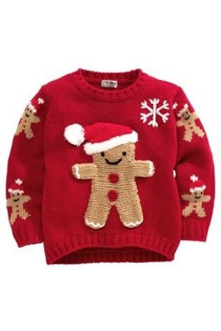 baby Christmas jumper baby christmas jumper. red ginger bread man design. MCJEKPE