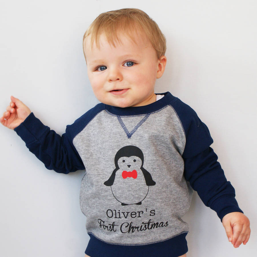 baby Christmas jumper personalised childrenu0027s penguin christmas jumper KSPMMWQ