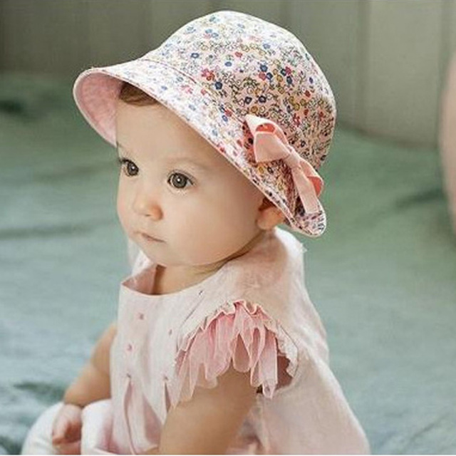 Baby Girl Hats 2016 new fashion baby girl cap princess baby girls hat cotton beach baby hat EBOPGGM