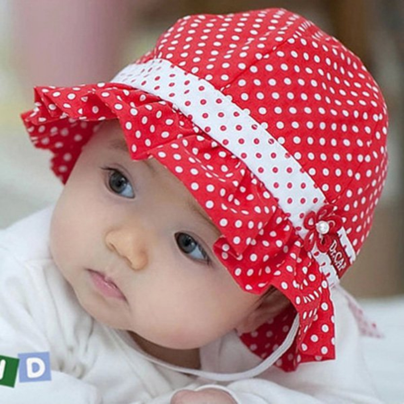 Baby Girl Hats baby summer hat baby girls sun hat lovely polka dot flower bucket cap  bowknot NUBYHDK