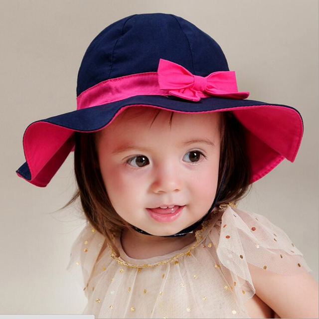 Baby Girl Hats fashion 2018 new blue kids beach sun hat girl cap baby girl summer hat DWMYOSM