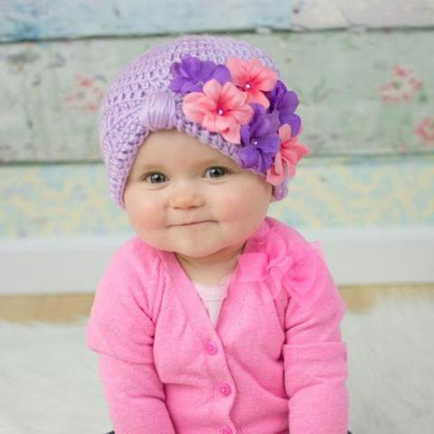 Baby Girl Hats little pink and purple geranium petals turban baby girl hat XJZYFFB