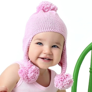Baby Girl Hats triple bounce pom pom knit hat ... KODWTUV
