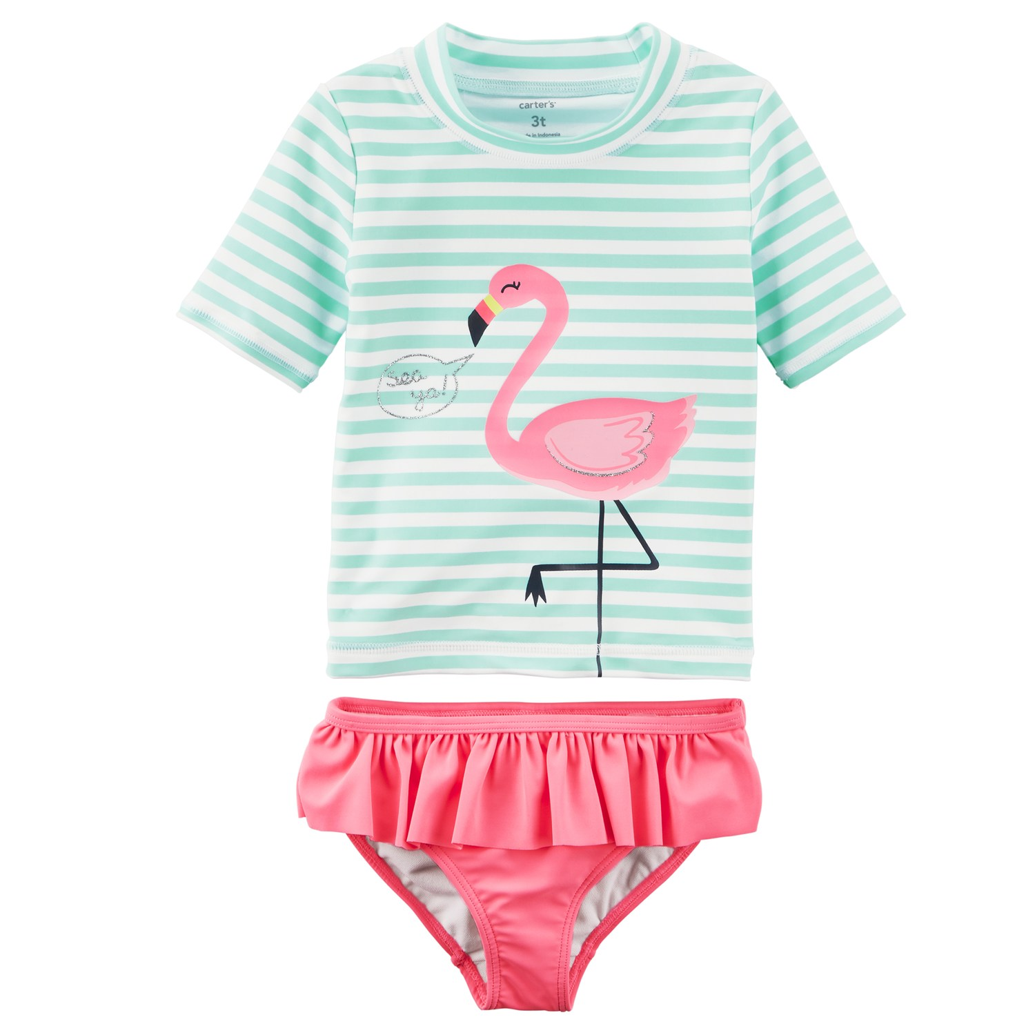baby girl swimsuits baby girl carteru0027s flamingo rashguard u0026 ruffled bottoms swimsuit set WNVTQFU