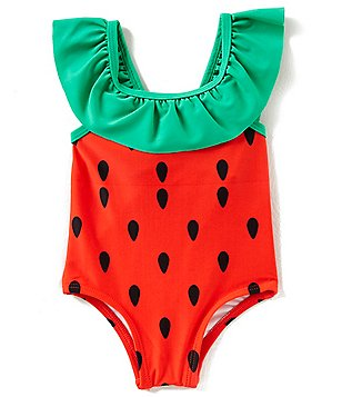 baby girl swimsuits starting out baby girls 3-24 months seed print one-piece swimsuit AUPWBHU