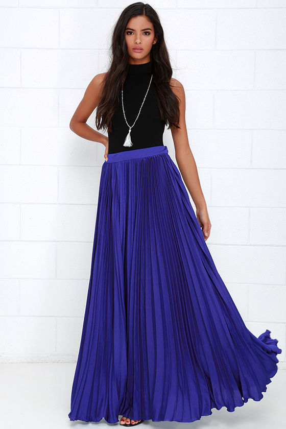 back in a minute royal blue maxi skirt OLITOJY