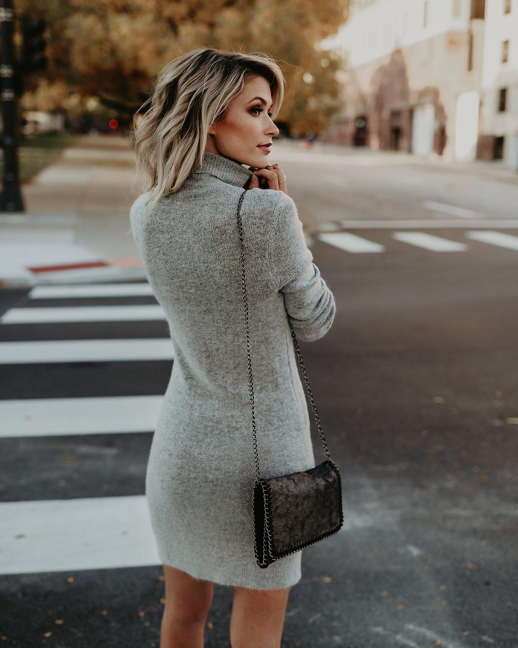 back to cool tencel sweater dress - heather grey CGKODDK