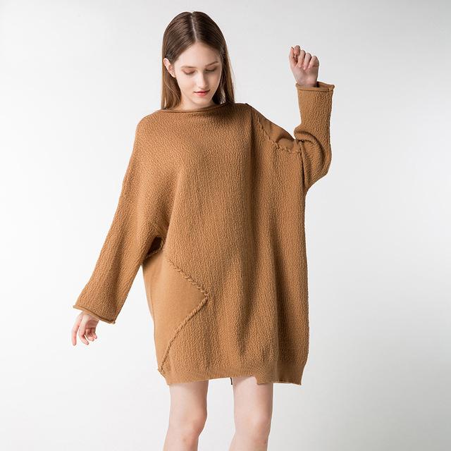 baggy sweaters 2017 winter vintage patchwork women sweaters autumn pull femme knit jumper  boyfriend style oversized BADJHJY