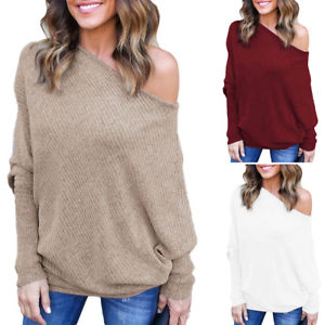 baggy sweaters image is loading us-womens-off-the-shoulder-chunky-knit-jumper- KPCDSOB
