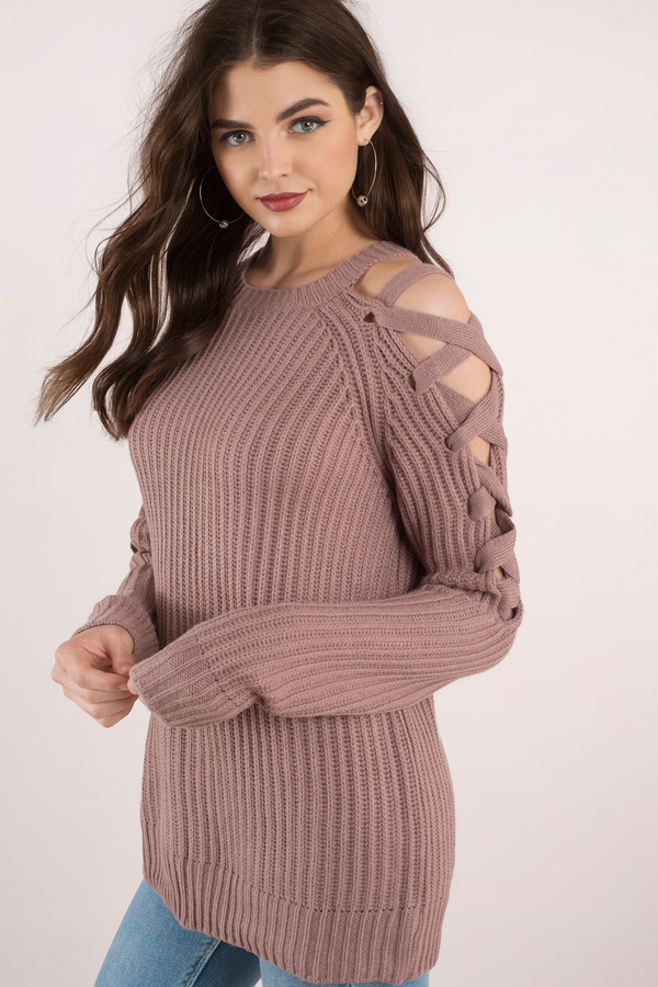 baggy sweaters oversized sweaters, mauve, miracle lace up sweater dress, ... UWVTDGL