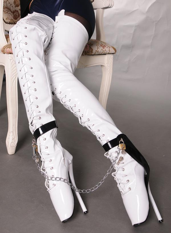 Ballet Heels extreme 18cm high heels over knee ballet heels thigh high boots sex fetish  high GRVRIFT