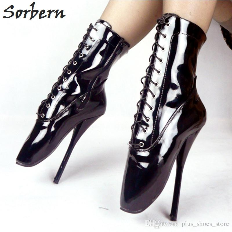 Ballet Heels hot black patent leather ballet heel boot shoes ultra high heel 18cm/7  stilleto heel EXQAMAQ
