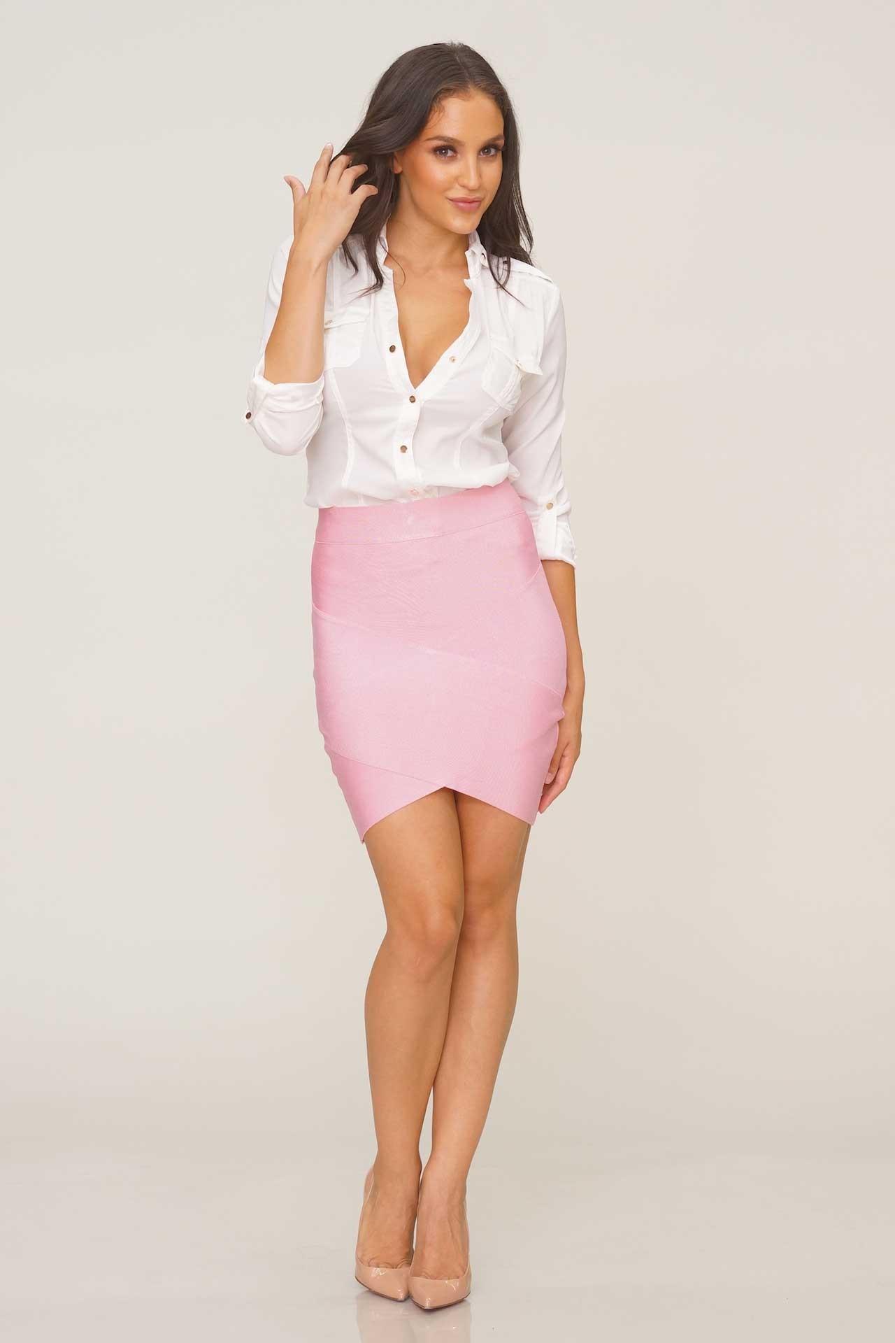bandage skirts arched up bandage skirt - pink CCAVOBX