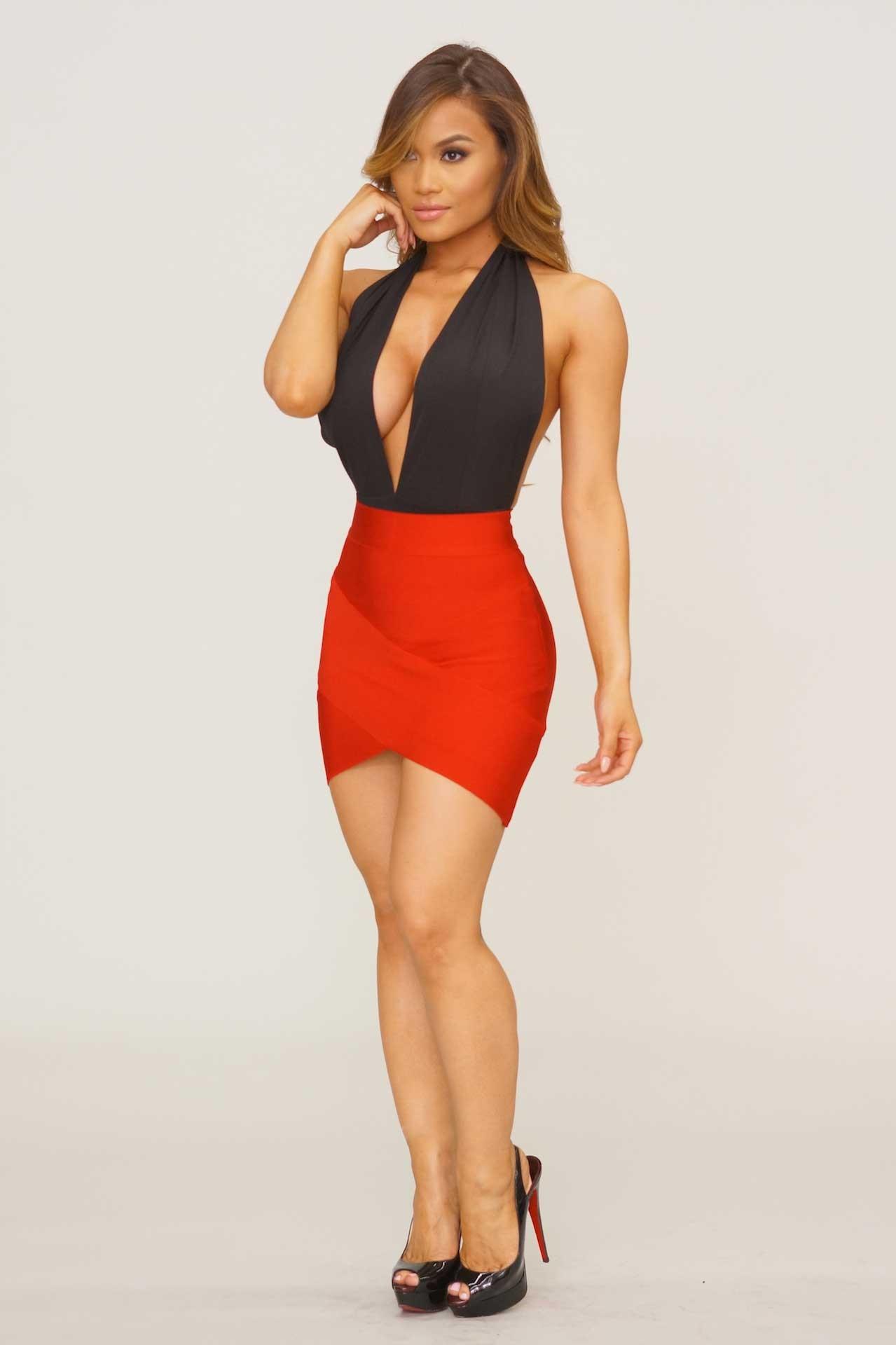bandage skirts arched up bandage skirt - red MVYZUQK