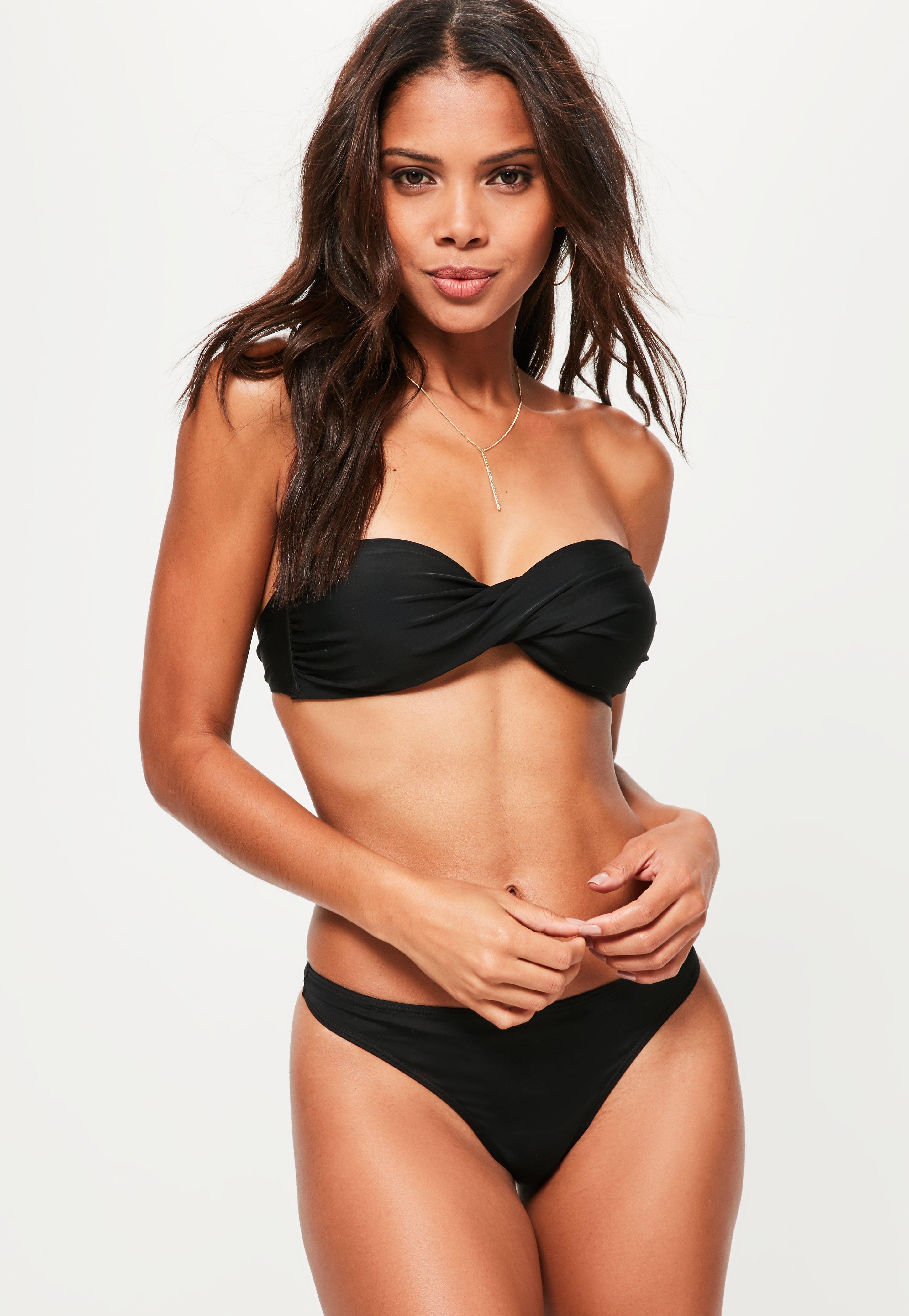 Bandeau Bikinis black twist bandeau bikini top - mix u0026 match DMXPKYX