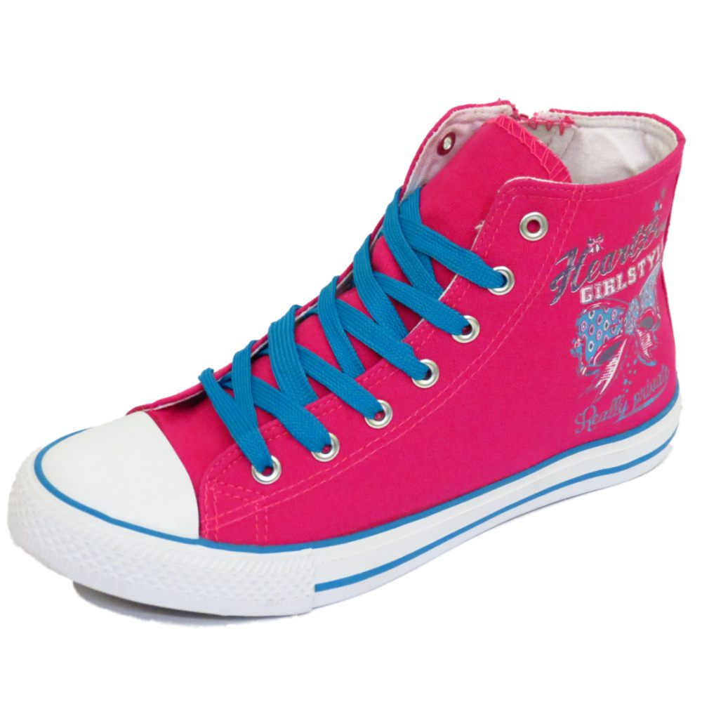 baseball boots girls-kids-childrens-pink-canvas-hi-top-baseball- FYKQJHX