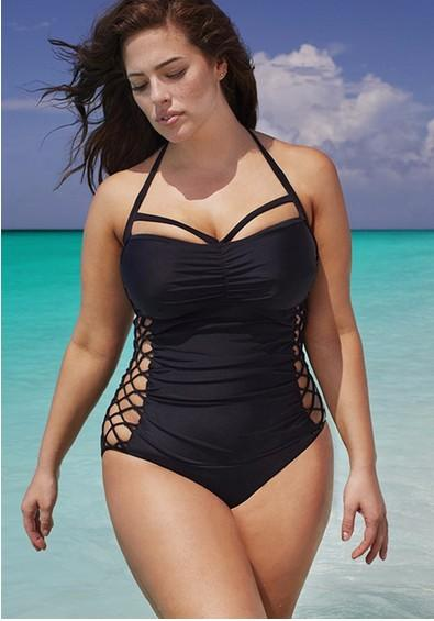 Bathing Suits for plus Size 2018 2016 plus size swimwear one piece solid color halter xl 2xl 3xl bathing PCNPSBC