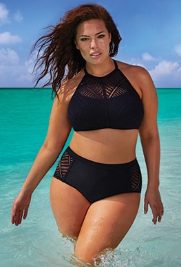 Bathing Suits for plus Size high waist - charlatan bikini ISIZJOK