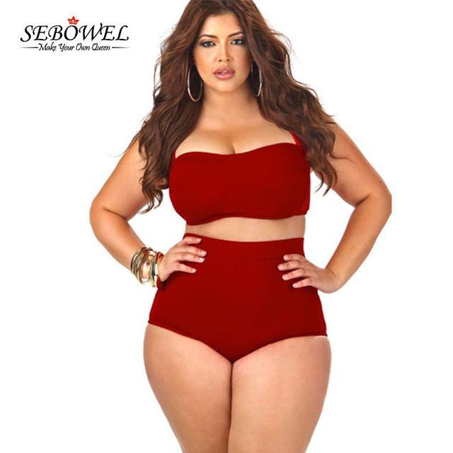 Bathing Suits for plus Size sebowel 2018 vintage plus size swimwear womenu0027s high waisted bikini set  swimsuit sexy large WDPZKDA